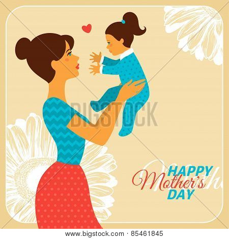 Mother and Daughter with Happy Mothers Day Congratulation Text.
