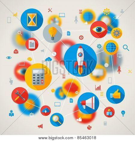 Abstract vector concept with flat business and mobile technology icons.
