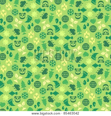 Green Ecology Background Made of Eco Icons.