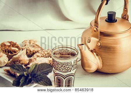 Arabic Teapot On White Wooden Table