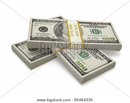 Three Packs Of One Hundred Dollar Bill
