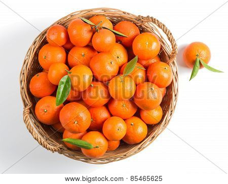 Big Basket Full Of Mandarins, Top View