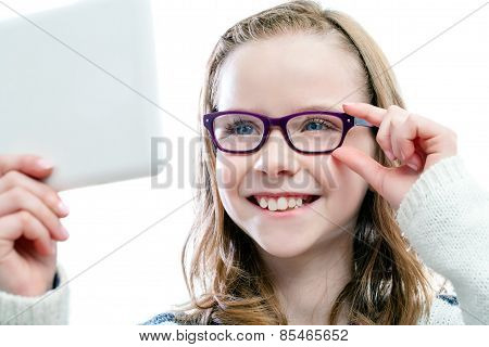 Girl Trying New Glasses.