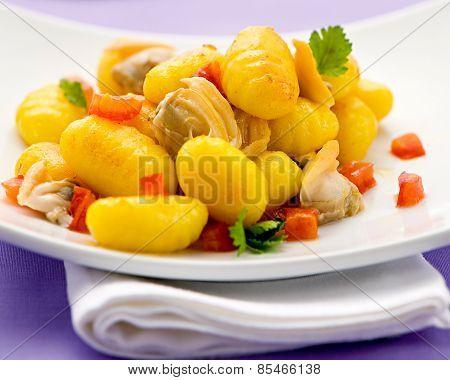 Italian Gnocci Dumplings With Clams