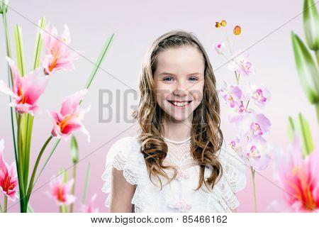 Young Girl In Flower Garden .