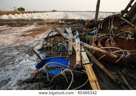Original Heap Of Salt Harvest Tool In Salt Farm Banleam Petchaburi Province Central Of Thailand