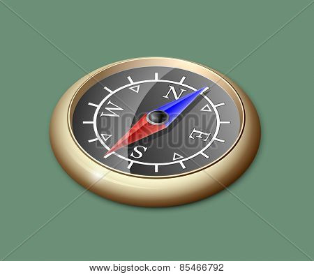 Vector Illustration of brass compass