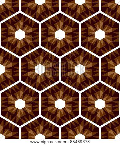Mosaic hexagons pattern. Seamless texture. Vector art.