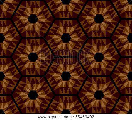 Mosaic brown hexagons pattern. Seamless texture. Vector art.