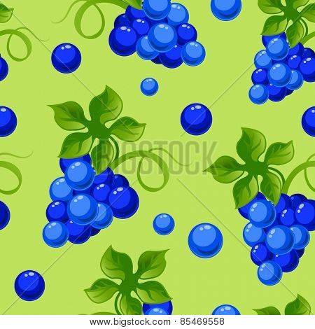 Vector seamless background with bright fresh juicy grapes.