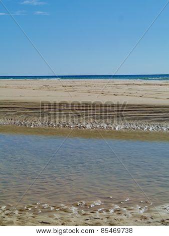 The beach of Fuerteventura at ebb