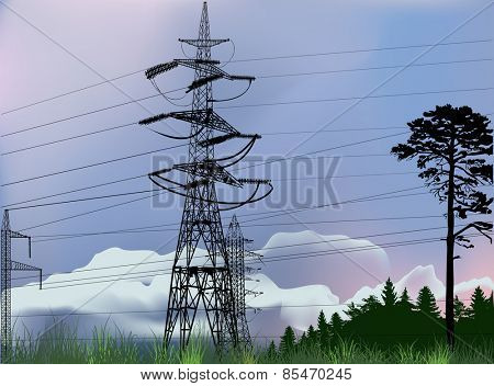 illustration with electric power pylons in forest