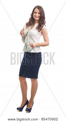 Medical  Woman Isolated On White Background Phonendoscope