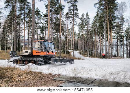Imatra. Finland. Snowcat on the ski trail