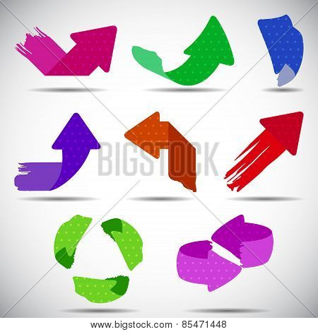 Set of colorful grunge arrows