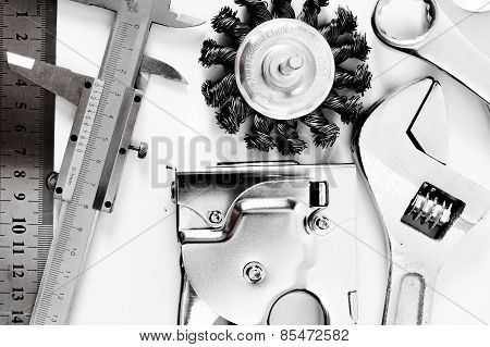 Metal working tools. Metalwork. Caliper, wrench and others tools on white background.
