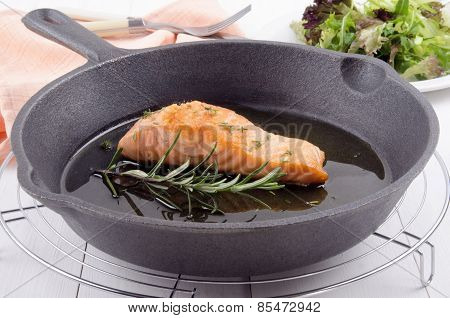 Grilled Salmon Fillet In A Pan