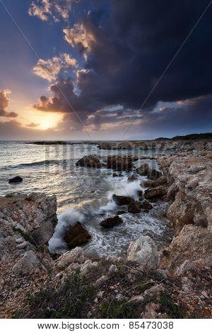 Rocky Coast of Sicily At Sunset