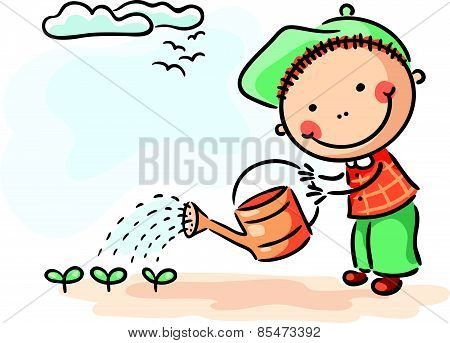 Children spring activities boy watering sprouts