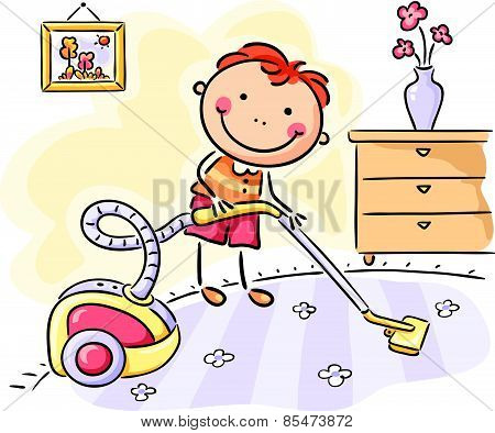 Boy helping his parents with the housework
