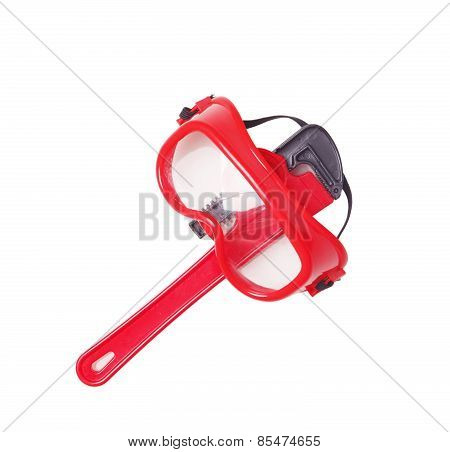 Red Pipe Wrench Isolated Over A White Background