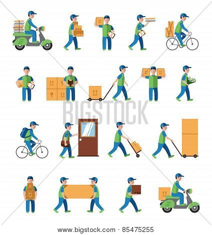 Courier, delivery, postman people. Flat style icons vector