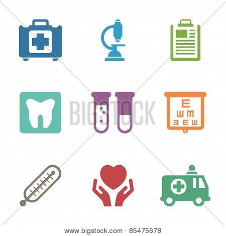 Health care, medical items. Flat style icons vector
