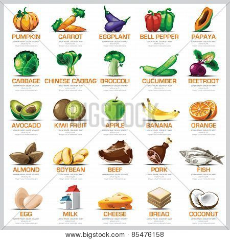 Ingredients Icons Set Vegetable Fruit And Meat For Nutrition Food
