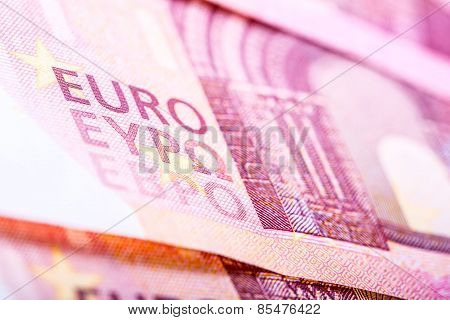 Euro banknotes, detailed text on a new ten euro banknotes.