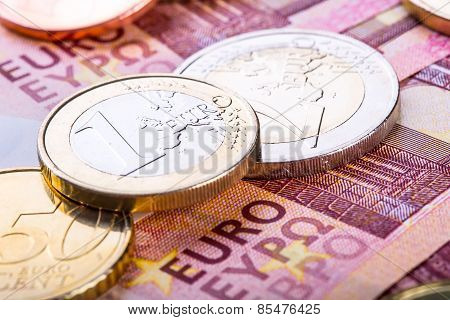 Euro currency. Coins and banknotes. Cash money background.