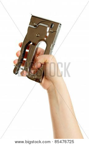 Stapler in hand on white background.