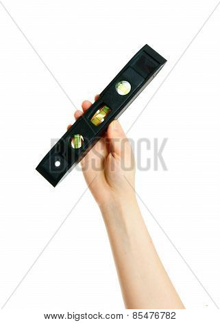 Measuring instrument  in hand on white background.