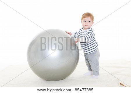 Little Baby With Fitness Ball.