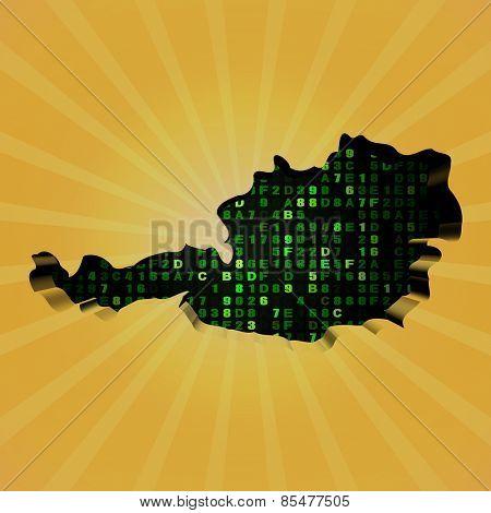 Austria sunburst map with hex code illustration