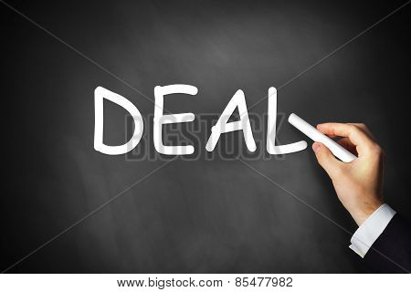 Hand Writing Deal On Black Chalkboard
