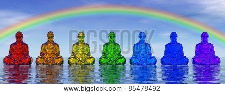 Chakra buddhas - 3D render