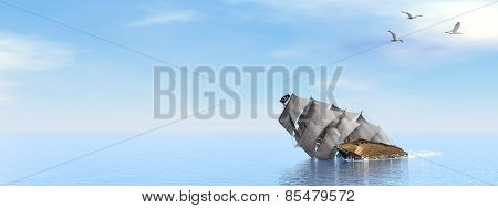 Pirate Ship sinking - 3D render