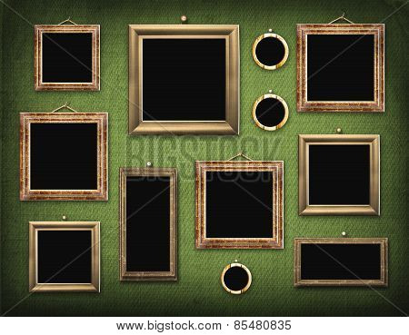 Old Room, Grunge Industrial Interior, Worn  Surface, Wooden Frames