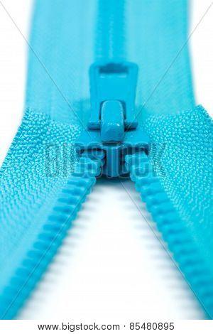 Half Open Blue Zipper