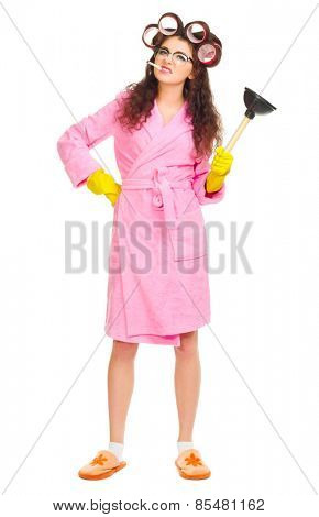 Housewife with plunger and cigarette isolated