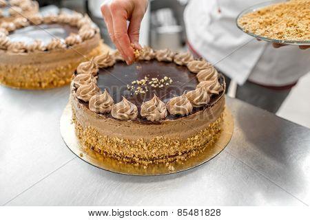 Making biscuit cake