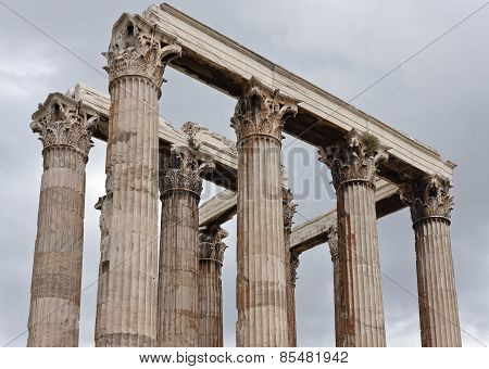 View among the remains of columns in the Temple of Zeus.