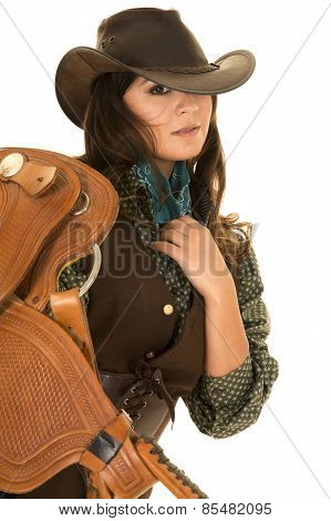 Cowgirl Hold Saddle On Shoulder Close