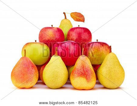 Pears And Apples Fresh Red Green Yellow With Leaf. The Concept Pyramid Of Health, Beauty And Success