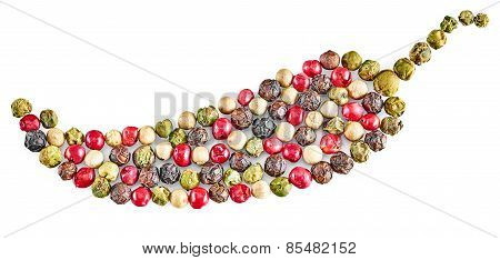 Peppers Colored. Mixture Of Hot Pepper. Concept Decorative Forms Peppercorn. Isolated On White Backg