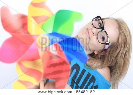 Portrait of young woman wearing striped multicolored socks isola