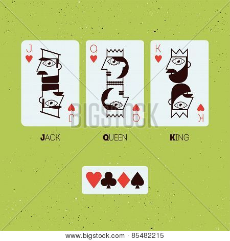 Jack, Queen and King. Stylized playing cards. Vector illustration.