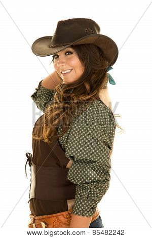 Cowgirl Side Vest And Hat Smile