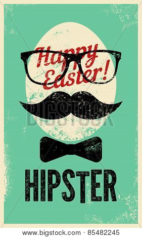 Happy Easter, Hipster! Typographic retro grunge Easter greating card. Vector illustration.