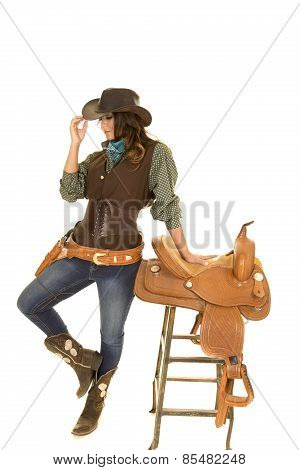 Cowgirl Stand By Saddle On Stool